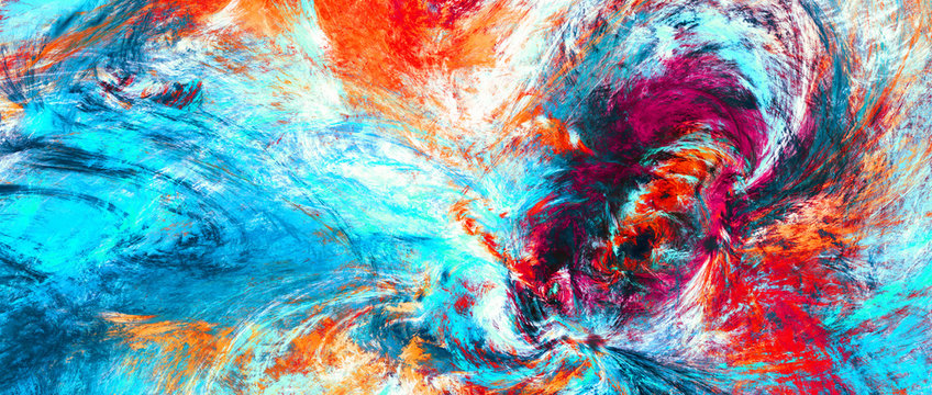 Bright artistic splashes. Abstract painting color texture. Modern futuristic pattern. Blue, red and yellow dynamic background. Fractal artwork for creative graphic design