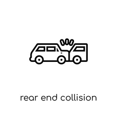Rear end collision icon. Trendy modern flat linear vector Rear end collision icon on white background from thin line Insurance collection