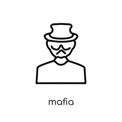 Mafia icon. Trendy modern flat linear vector Mafia icon on white background from thin line Professions collection