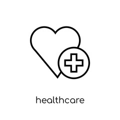 Healthcare icon. Trendy modern flat linear vector Healthcare icon on white background from thin line Health and Medical collection