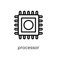 Processor icon. Trendy modern flat linear vector Processor icon on white background from thin line Internet Security and Networking collection
