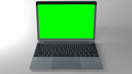 Laptop perspective template, with 255 green color key screen.