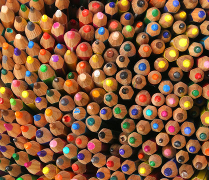 background of colorful pencils used by children during the drawi
