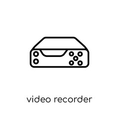 Video recorder icon. Trendy modern flat linear vector Video recorder icon on white background from thin line Electronic devices collection