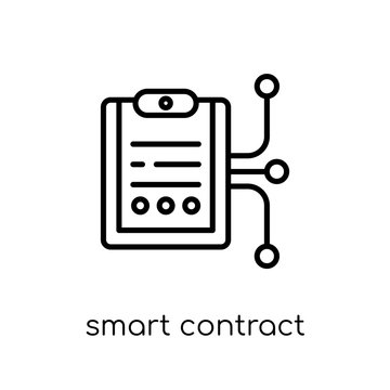 smart contract icon. Trendy modern flat linear vector smart contract icon on white background from thin line General collection