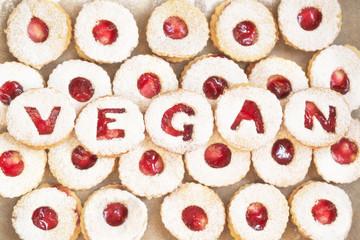 Foto op Aluminium Koekjes Homemade christmas cookies with vegan lettering - traditional