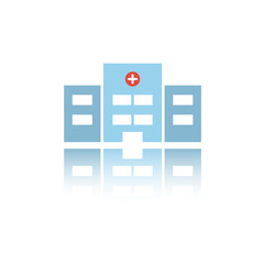 Isolated hospital color icon with reflection