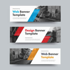 Wall Mural - Template of vector horizontal web banners with diagonal color design elements and space for photo.