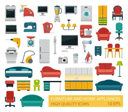 High quality icons of home appliances and furniture