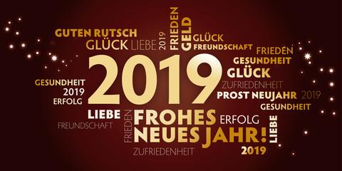 2019 Neujahrsgruss rotbraun und gold - Wünsche auf deutsch.