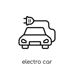 electro car icon. Trendy modern flat linear vector electro car icon on white background from thin line general collection