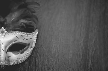 Venetian carnival mask on black background