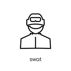 Swat icon. Trendy modern flat linear vector Swat icon on white background from thin line Professions collection