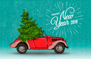 Happy New Year postcard or poster or flyer template with retro red car and Christmas tree with christmas tree. Vintage styled vector illustration. Isolated on turquoise background.