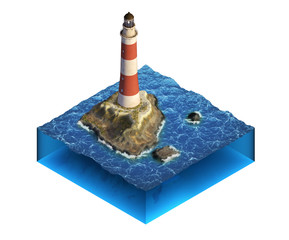 Isometric illustration with lighthouse on the small island.
