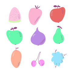 Colorful fruit illustration set. Set of fruits for your design.