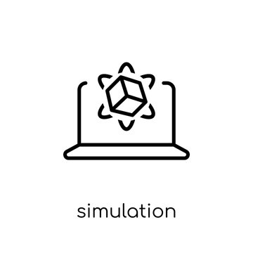 Simulation icon. Trendy modern flat linear vector Simulation icon on white background from thin line Programming collection