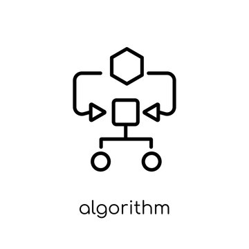Algorithm icon. Trendy modern flat linear vector Algorithm icon on white background from thin line Programming collection