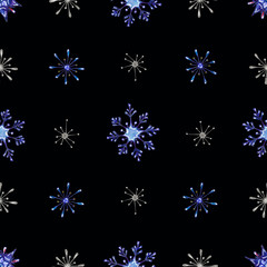 Christmas watercolor snowflakes background.