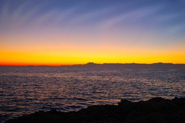 Landscape photo of the sea after sunset. Background