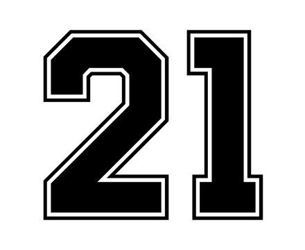 Classic Vintage Sport Jersey Number 21 in black number on white background for american football, baseball or basketball / logos and t-shirt.