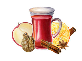 Mulled wine with spices. Watercolor illustration. Isolated on white.
