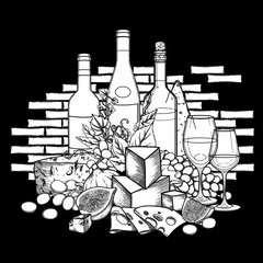 Graphic wine glasses and bottles decorated with delicious food
