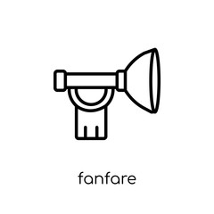 Fanfare icon. Trendy modern flat linear vector Fanfare icon on white background from thin line Fairy Tale collection