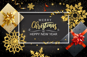 Merry Christmas and Happy New Year card with gifts and golden snowflakes.