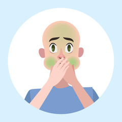 Man suffer from nausea. Symptom of disease