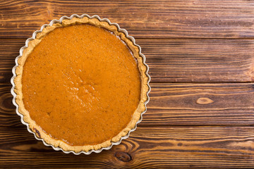 Homemade american traditional pumpkin pie