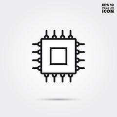 microprocessor vector line icon