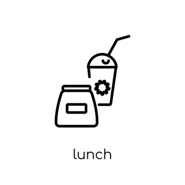 Lunch icon. Trendy modern flat linear vector Lunch icon on white background from thin line E-learning and education collection