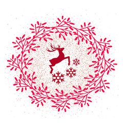 Flat vector icon for website or history. Christmas deer and snowflakes in a wreath on the snow pattern isolated