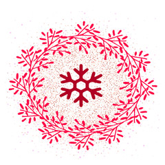 Flat vector icon for social networks, website and stories.Icon wreath and snowflake on snow pattern isolated.