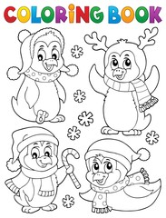 Poster Voor kinderen Coloring book Christmas penguins 2