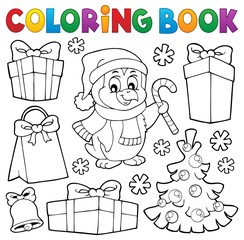 Coloring book Christmas penguin topic 4