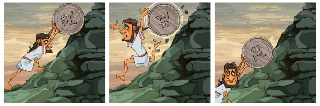 Image of Sisyphus labor cartoon man raises coin uphill
