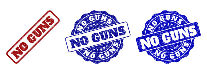 NO GUNS grunge stamp seals in red and blue colors. Vector NO GUNS watermarks with distress style. Graphic elements are rounded rectangles, rosettes, circles and text tags.