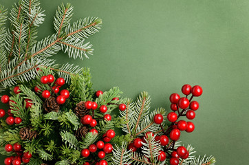 Christmas tree branches, pinecones and holly on corner of green background