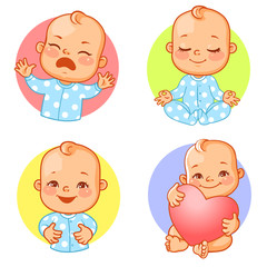 Set of baby stickers, smiley, emoji. Baby cry, shout, smile, mediatate, hold heart. Baby boy with different emotions. Facial expression. Vector illustration
