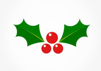 Christmas holly leaf icon symbol.