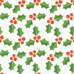 Holly berries Christmas symbol seamless pattern
