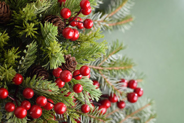 Holly berries and fir branches decoration on a green blurred background
