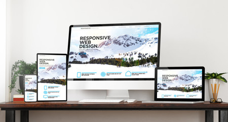 Wall Mural - front view responsive website devices mockup