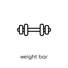 Weight bar icon. Trendy modern flat linear vector Weight bar icon on white background from thin line Gym and fitness collection