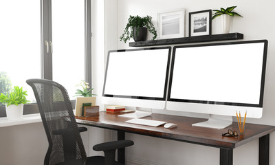 black and white desktop with two blank screens