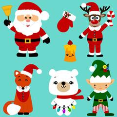 Christmas icons. Collection. Santa. New Year. Symbol.