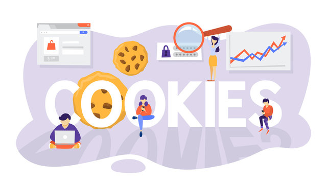 Internet cookies technology concept. Tracking website surfing.