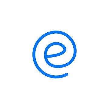 e letter round logo vector icon